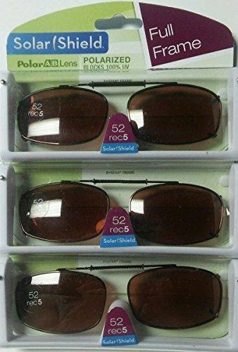 3 SOLAR SHIELD Clip-on Polarized Sunglasses Size 52 Rec 5 Brown Full Frame - Solar 3 Sunglasses