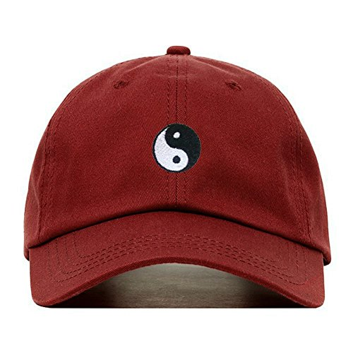 Yin Yang Dad Hat, Embroidered Baseball Cap, 100% Cotton, Unstructured Low Profile, Adjustable Strap Back, 6 Panel, One Size Fits Most (Multiple Colors) (Burgundy) ()