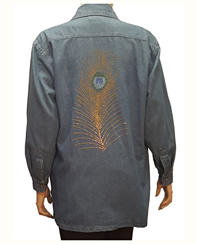 Denim Shirt Peacock Feather Rhinestone Embellished with Bling Collar (Embellished Denim Shirt)