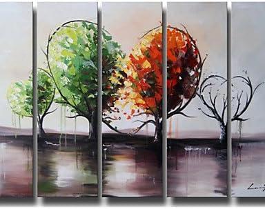 Árbol verde de pintura al óleo mundo de la decoración de la pared del arte pintado a mano con pintura 5pcs/pack) (sin marco: Amazon.es: Hogar