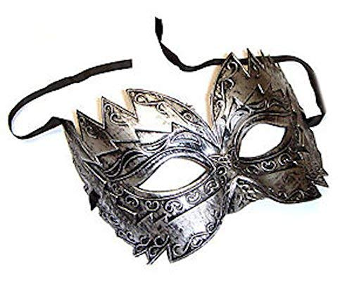 The Rubber Plantation TM 619219290449 Silver Titan Men's Venetian Masquerade Masked Ball Party Prom Costume Accessory, Unisex-Adult, One -