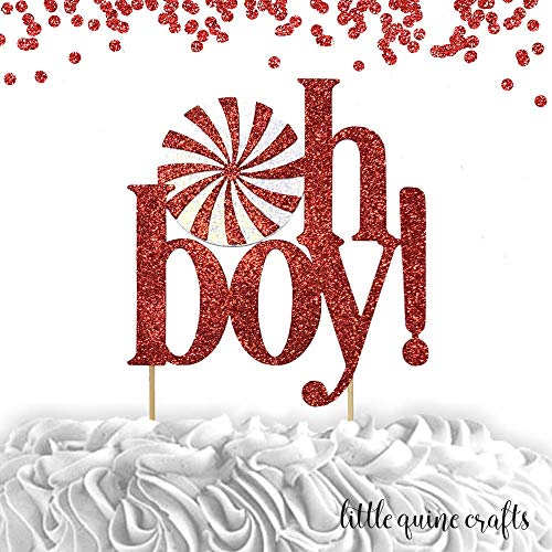 1 pc oh boy! peppermint red glitter cake topper baby shower baby boy winter wonderland candy land theme