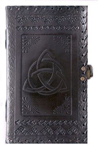 QualityArt Handmade Distressed Leather Journal Distressed Leather Notebook Triquetra Knot Diary Sketchbook Travel Blank Book 9X5 Inches Black Christma…