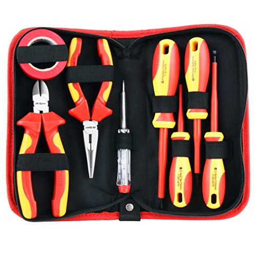 Hi-Spec 8 Piece Insulated Electrician Tool Set- 1000V VDE Approved Pliers, Slotted & Phillips Screwdrivers with S2 Steel Tips, Voltage Tester & Electrical Tape for DIY, Electrical, Mechanic & Engineer