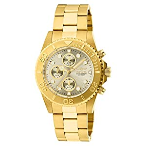 Invicta Unisex Pro Diver Quartz Watch with Beige Dial Chronograph Display and Gold Plated Bracelet 1774