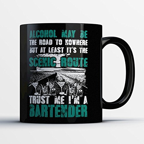 Simple Bartender Halloween Costumes (Bartender Coffee Mug - Alcohol Is the Scenic Route - Funny 11 oz Black Ceramic Tea Cup - Cute and Humorous Bartender Gifts with Bartending Sayings)