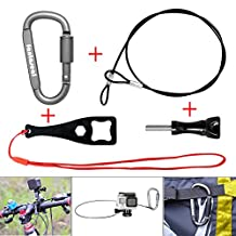 Fantaseal® Plastic Coated Stainless Steel Rope Kit for GoPro Lanyard Bundle GoPro Safety Tether Cable Cord Wire Accessories Kit w/ Long Screw +Wrench + Carabiner for GoPro Session / Hero 5 / Hero 4 / Hero 3+ / Hero 3 / Hero+ / Hero+LCD + SJCAM + Garmin Virb XE + Xiaomi Yi+SonY + More (60cm)
