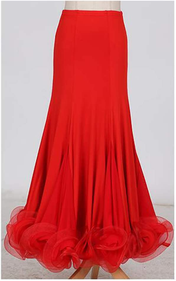 QMKJ Mujer Baile clásico Vestido Rojo Floral Baile Social Falda ...