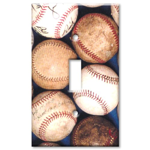 Old Baseballs Metal Wall Plate - Single Gang Toggle ()