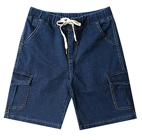 LifeHe Men's Summer Casual Drawstring Elastic Waist Denim Shorts Cargo Pants (Deep Blue, L)