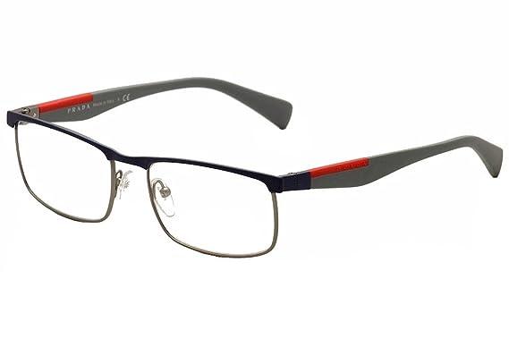 Prada PS54FV Eyeglass Frames TWQ1O1-55 - Blue Rubber/Gunmet Rubber ...