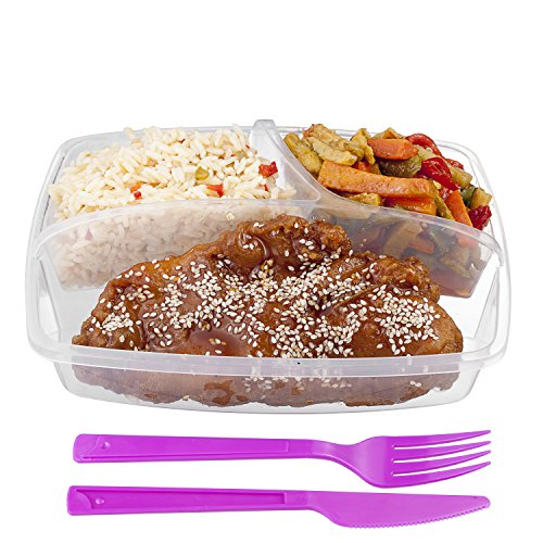 3-compartment Food Container with Lid - Set of Cutlery Included, Bento Lunch Box - Lunch Containers - Purple - Set of 3