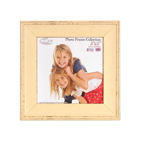 Inov8 British Made Picture/Photo Frame, 5X5 Inch, Austen Distressed Cream, Pack Of 4