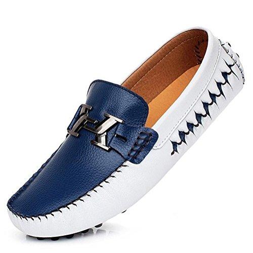 Negro Cuero Zapatos Driving Mocasines Nuevo Barco On Dorado Slip 2018 Blanco de Azul Shoes Mens Mocasines Casuales Un qXAZP