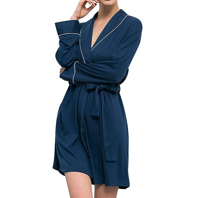 Bata de baño Talla Grande Pijamas para Mujer 🌲 Pijamas de algodón de Manga Larga para Mujer SPA Cómodo Baño Pijamas Pijamas de Punto de Yesmile: Amazon.es: ...
