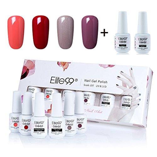 Elite99 Gel Polish Soak Off UV LED Gel Nail Polish with Top Coat Base Coat Nail Art Gift Box Set of 6 8ml C038