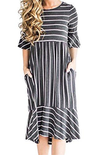 BLTR Midi Flare Elegant Casual Work A Women Line Dress Gray Sleve Ruffle r1Cqrzw