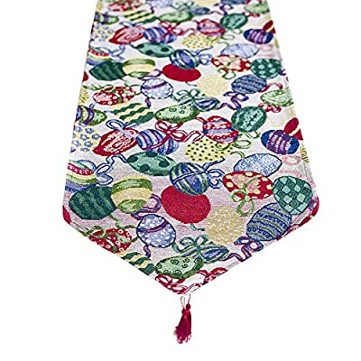millet16zjh Nordic Lovely Easter Rabbit Eggs Printed Tablecloth Table Runner Kitchen Decor