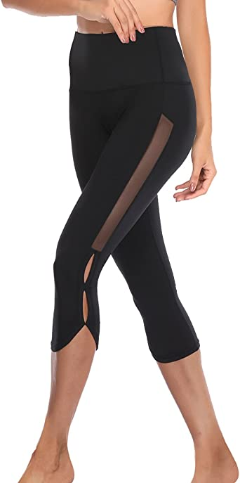Women Gym Yoga Workout Active Compression Capri Leggings Pants With Pockets Mesh