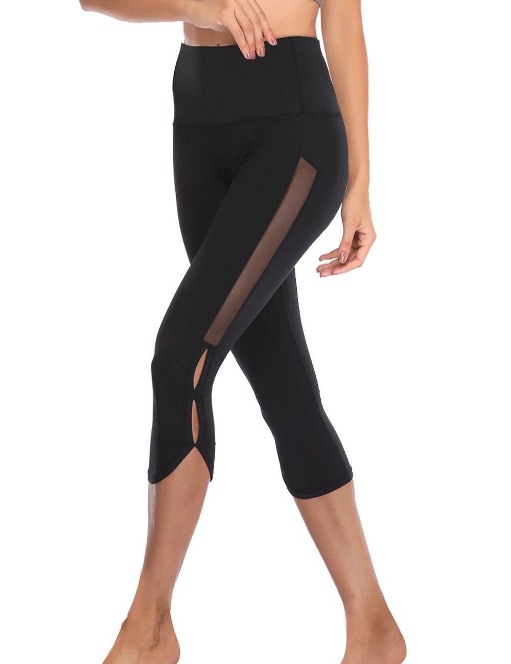 TELALEO Yoga Pants for Women with Pocket, High Waisted Mesh Workout Running Exercise Capri Leggings Pants Black Medium