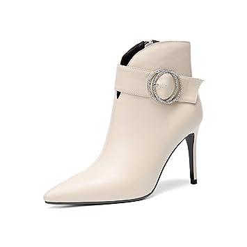 YAN Zapatos De Tacón De Aguja De La Mujer, Zapatos De Moda Dama De Los Botines Formales Vestido De Cuero Cremallera Botines Cabeza Tacones Altos Negro Beige ...