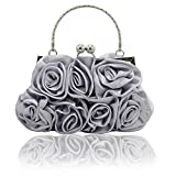 Kingluck Silk Shell with Flower Evening Handbags/Clutches/Top Handle Bags More Colors Available (silver)