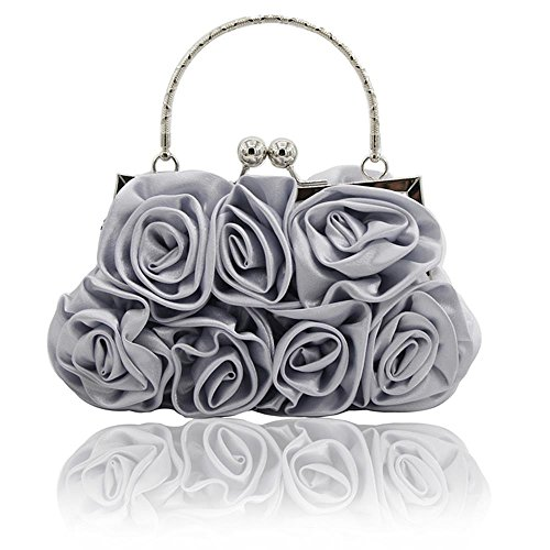 - Kingluck Silk Shell with Flower Evening Handbags/Clutches/Top Handle Bags More Colors Available (silver)