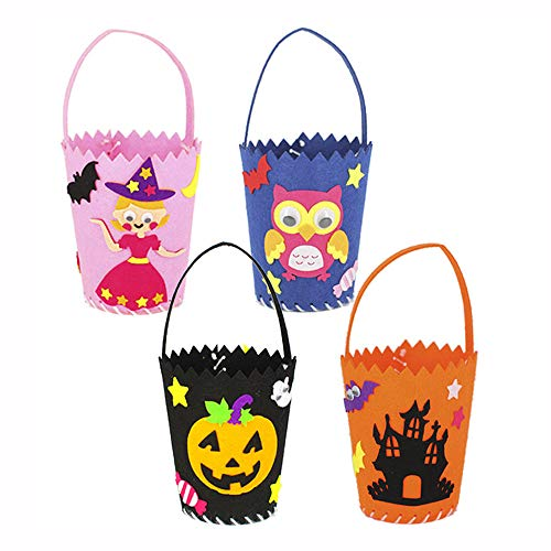 (Halloween Tote Bag Halloween Baskets Party Gift Candy Bag Trick or Treat Bag for Kids, 4 Pack Sewing Kit for Children)