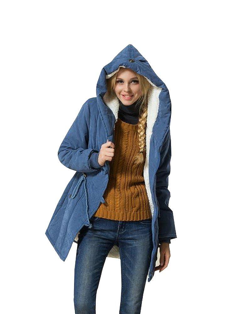 Eleter Women's Warm Winter Coat Plus Size Hoodie Parkas Overcoat Fleece Jacket