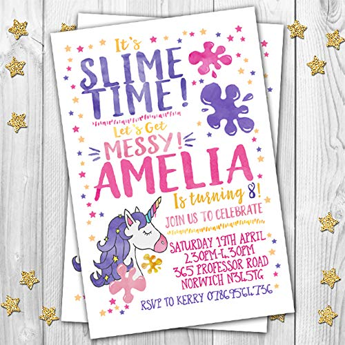10 slime themed personalised birthday party invitations invites