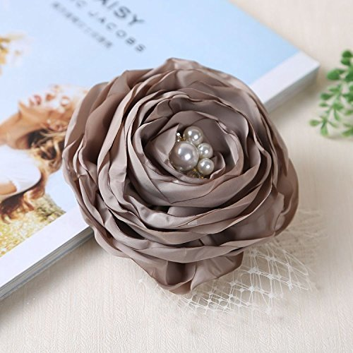 Large flowers with gauze fabric corsage pin accessories wild flowers, handmade jewelry brooch women girls diamond bow tie (Wildflower Brooch)