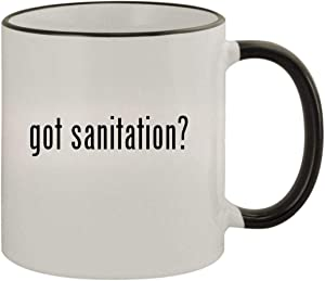 got sanitation? - 11oz Ceramic Colored Rim & Handle Coffee Mug, Black