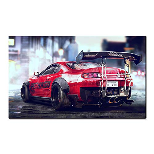 Toyota Car Photo - Karen Max 1 Piece Canvas Art Canvas Painting Toyota Sports Car Bugatti Chiron Super Car Poster Home Decor Wall Picture (Size 5:12x14inch Frame)
