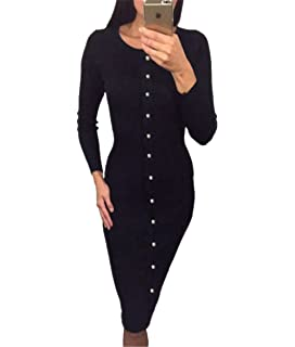 8908aff941a Roselux Women s Rib-Knit Calf-Length Midi Dress Fitted Stretch Sexy Sweater  Warm Dress
