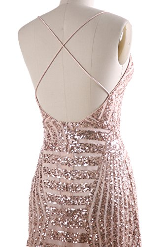 MACloth Women Deep V Neck Sequin Long Prom Dress Sexy Formal Party ...