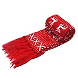 Unisex Christmas Snow Deer Crochet Knitting Scarf Winter Jacquard Weave Scarves Wraps Shawls Red