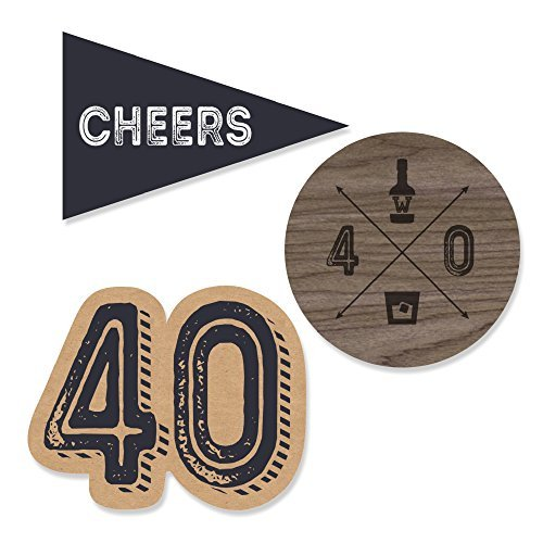 40th Milestone Birthday - Dashingly Aged to Perfection - DIY Shaped Party Cut-Outs - 24 Count ()