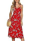 Womens Summer Sleeveless High Waist Modest Cotton Floral Print Pockets Dress (S, Red)