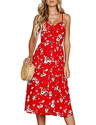 Women's Hawaiian Floral Sundress Spaghetti Strap Summer Button Down Dress with Pocket (M, Red)