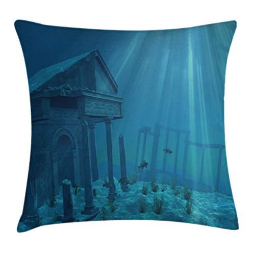 Ocean Throw Pillow Cushion Cover by Ambesonne, Sunlight over Ruins of A Former Civilization Deep Sea Atlantis World Nautical Picture Print, Decorative Square Accent Pillow Case, 18 X18 Inches, - Atlantis Light 18