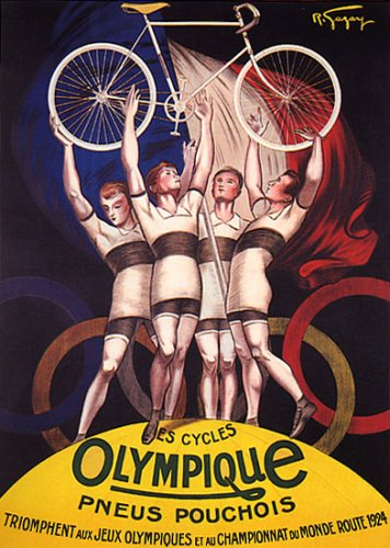 CYCLES OLYMPIQUE PNEUS POUCHOIS 1924 OLYMPIC GAMES CYCLISM BICYCLE ATHLETE LARGE VINTAGE POSTER REPRO - Olympic 1924 Games