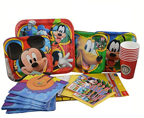 Disney Mickey Mouse Clubhouse Birthday Party Supplies. Paper Plates, Napkins, Birthday Banner and Invitations, TableCover, Paper Cups