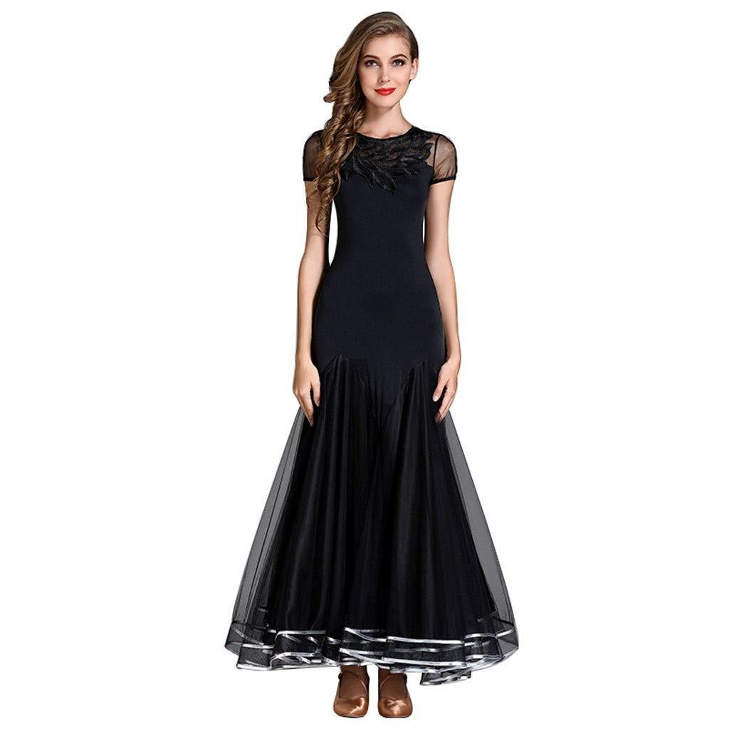 [宅送] 大人の半袖レディースワルツのダンスのスカートの現代服、国民のタンゴ社交の性能のダンスの衣装/刺繍されたネックライン B07NTBKGXZ ブラック B07NTBKGXZ XXL|ブラック XXL|ブラック ブラック XXL, 村上クラフト:8a212642 --- a0267596.xsph.ru