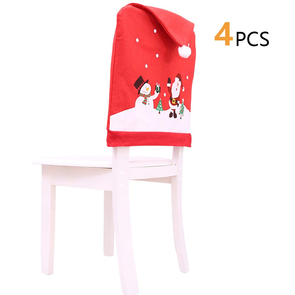 YYage Santa Hat Chair Covers, Set of 4 PCS Santa Clause Red Hat Chair Back Covers Kitchen Chair Covers Sets for Christmas Holiday Festive Decor