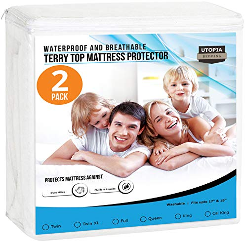 Utopia Bedding Premium Waterproof Mattress Protector - Breathable Fitted Mattress Cover Twin (Pack of 2)