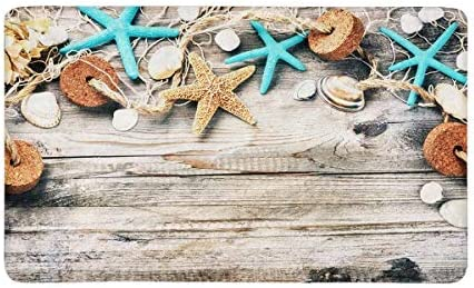 INTERESTPRINT Summer Holiday with Seashells and Fishing Net Anti-Slip Door Mat Home Decor Indoor Entrance Doormat Rubber Backing 30 X 18 Inches