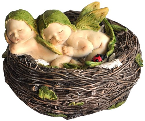 Top Collection Miniature Fairy Garden and Terrarium Sleeping Twin Fairy Babies in Nest Statue