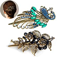 Hair Clips for Women, 2 Pcs Large Metal Alligator Clips for Fine Hair, Peacock Hair Accessories and Flower Hair Clips (Blue, Black)