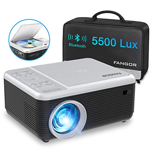 Projector, FANGOR Portable Bluetooth Projector with DVD Player, Updated 5500 Lux 720P Native 1080P Supported Mini Video Projector Compatible HDMI/USB/Micro SD/VGA/TV Stick/AV/PS4 for Home Theater