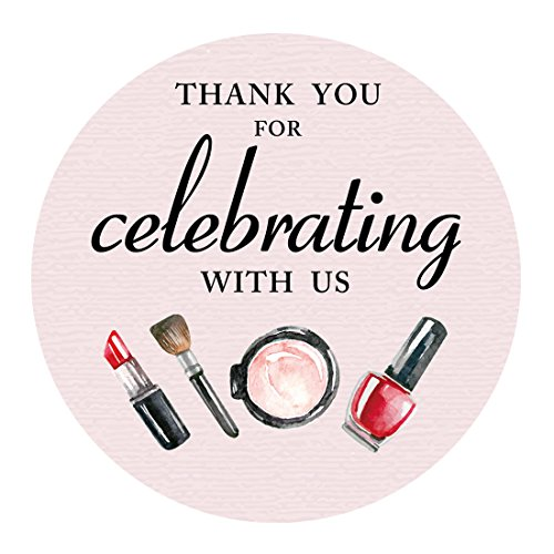 MAGJUCHE Girls Spa Makeup Thank You Stickers, Spa Birthday or Baby Shower Party Favor Sticker Labels, Party Supplies, 2 inch Round, 40-Pack by MAGJUCHE